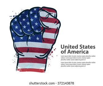 fist.  flag USA, United States of America. vector illustration