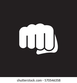 Fist, forward punch icon vector, filled flat sign, solid white pictogram isolated on black. Symbol, logo illustration