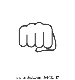 Fist, forward punch line icon, outline vector sign, linear pictogram isolated on white. Symbol, logo illustration
