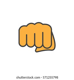 Fist, forward punch line icon, filled outline vector sign, linear colorful pictogram isolated on white. Symbol, logo illustration