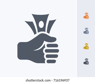 Fist Full Of Cash - Carbon Icons. A professional, pixel-aligned icon.