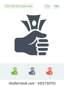 Fist Full Of Cash - Sticker Icons. A professional, pixel aligned icon.