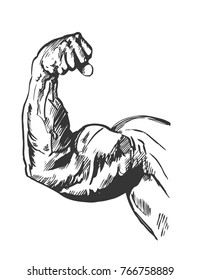 Fist, hand with athletic muscles. Graphics sketch