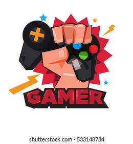 fist hand with gamer joy stick. typographic design. game lover concept - vector illustration