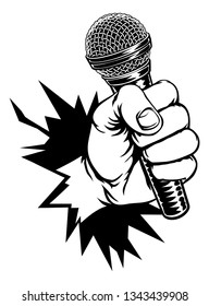 A fist hand holding a microphone or mic and breaking through the background or wall in a vintage intaglio woodcut engraved or retro propaganda style