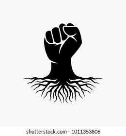 Fist hand logo design inspiration, root hand logo design inspiration isolated on white background