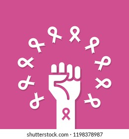 Fist hand up with pink ribbon. Breast cancer awareness. Vector illustration, flat design