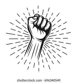 Fist hand stamp with rays vector monochrome illustration in vintage style isolated on white background