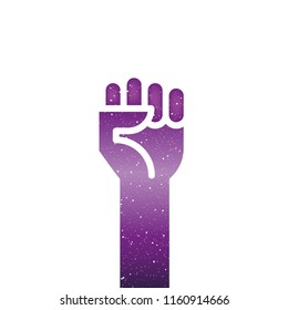 Fist hand up with universe texture. Vector illustration
