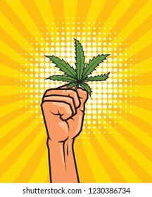 Fist held high hold on cannabis leaf, design in pop art style. vector illustration.