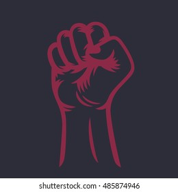 fist held high, raised hand outline, protest symbol