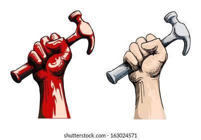Fist holding a hammer, vector illustration