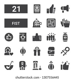 fist icon set. Collection of 21 filled fist icons included Thumbs up, Punching bag, Strength, Boxing, Punch, Hand grip, Boxing gloves, Grip, Women rights, Fist, Wanted, Clap, Tatami