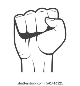 Fist isolated on white background in vintage style. Vector illustration.