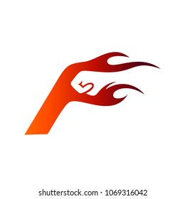 Fist Letter F With Fire Flame, Logo Template Ready For Use