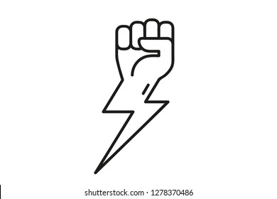 Fist and lightning icon. Symbol of unity, revolution, protest, cooperation, power, energy. Line icon or logo. Cute simple cartoon design. Flat style vector illustration.
