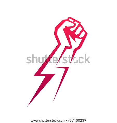 Fist Male Hand Proletarian Protest Symbol Stock Vektorgrafik