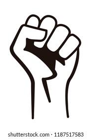 Fist male hand raised