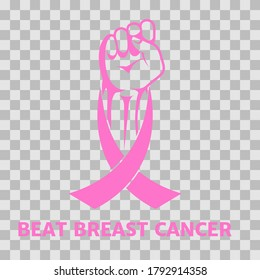 Fist and pink ribbon, symbol of victory over breast cancer. Vector icon isolated on transparent background, flat design, esp 10.