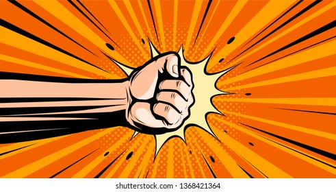Fist. Pop art retro comic style. Punch, cartoon vector illustration