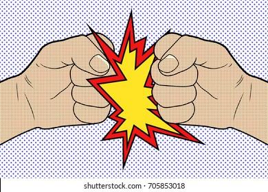 Fist to Fist Pop Art. Vector illustration.
