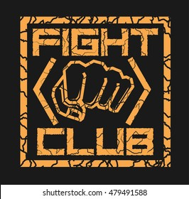 Fist punch fighting sports vector logo cracked typography