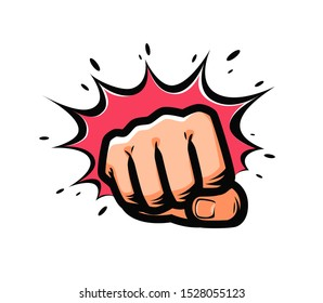 Fist punching in pop-art style. Vector illustration