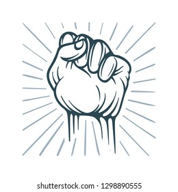Fist. Raised Fist hand drawn vector illustration isolated on white background. Sketch drawing winner hand up fist. Fist with abstract rays symbol of power, revolution and leadership.