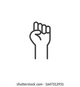Fist raised up, line icon. linear style sign for mobile concept and web design. Fist hand up gesture outline vector icon. Solidarity symbol, logo illustration. Vector graphics