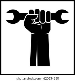 fist revolution symbol with wrench, vector icon. Vector illustration