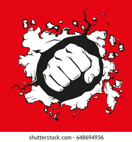 a fist smashing the wall