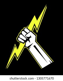 The fist squeezing a lightning. The vector illustration symbolizing force, the power. A logo, a sign for the power companies. Zeus hand. Design element. Vector illustration.