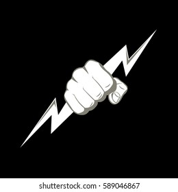 The fist squeezing a lightning. The vector illustration symbolizing force, the power. A logo, a sign for the power companies, fight club. Design element. Vector illustration