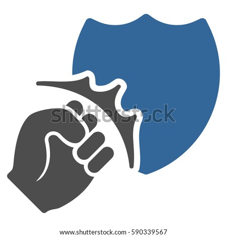 Fist Strike Shield Vector Icon Flat Stock Vector (Royalty