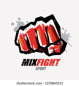 fist symbol in grunge style, martial arts concept, logo or emblem template