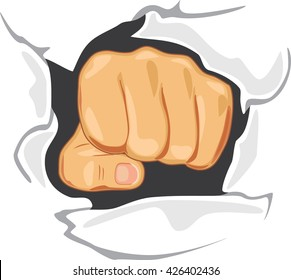 Fist through the wall. Determination. Symbol. Vector