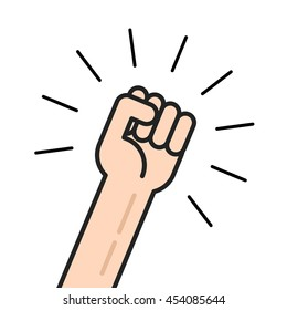 Fist vector icon isolated on white background, hand with shaking fist raised up, concept of election, motivated employee, person shouting, achievement, leadership punch