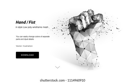 Fist. Vector isolated fist. Low poly frame and dots. The concept of a polygonal 3D-white agreement on a light background. Business concept with geometric triangle. Vector Abstract power