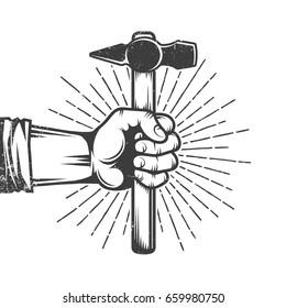Fist of worker holding hammer retro poster on white. Worn out texture on separate layer. Vintage vector illustration.