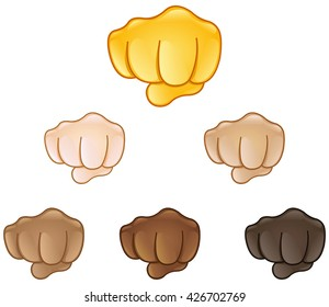 Fisted hand sign emoji set of various skin tones