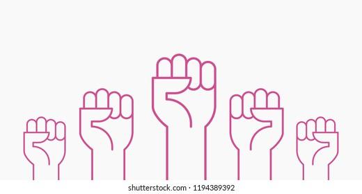 Fists hands up vector illustration. Breast cancer awareness month. Pink color. Flat outline design.