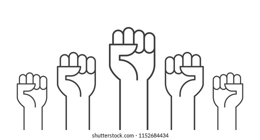 Fists hands up vector illustration. Concept of unity, revolution, fight, cooperation. Flat outline design.