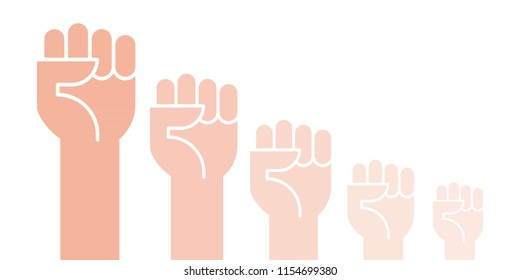 Fists hands up vector illustration. Concept of unity, revolution, fight, cooperation. Vector illustration, flat design