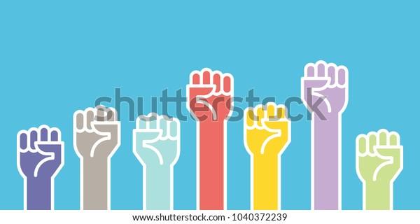 Fists hands up vector illustration. Concept of unity, revolution, fight, cooperation. Flat outline design.