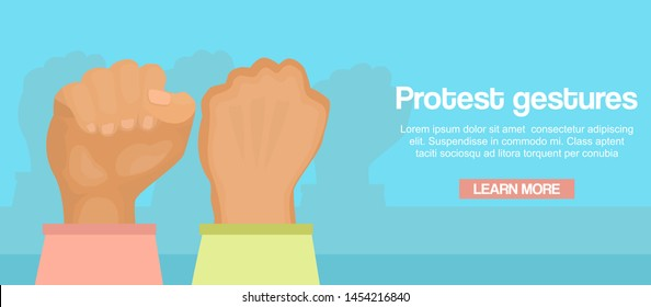 Fists up as a sign of protest vector cartoon illustration. Female protestation, fight and resist gestures banner with text space. Feminists protesters fists in air.