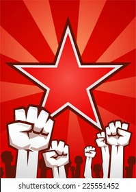 Fists up supporting the revolution