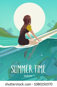 Fit active girl in bikini. Surfer on surf board wait for ocean wave. Surfing on summer beach holiday. Poster or card template. Vector illustration.