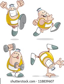 A fit cartoon guy works out