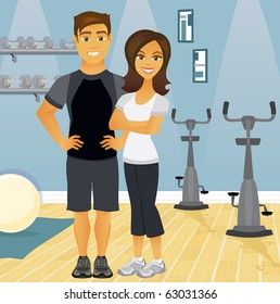 A fit couple in an indoor gym setting, representing workout partners.