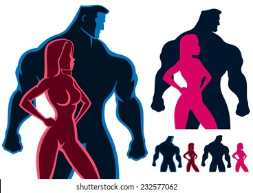 Fit couple silhouettes in 4 versions. No transparency and gradients used.